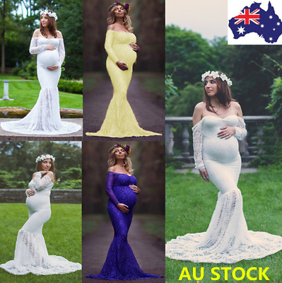 Pregnant Women Lace Long Maxi Dress Maternity Gown Photography Props Photo Shoot