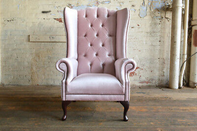 Modern Queen Anne Dusty Pink Velvet Chesterfield Wing Armchair, Extra High Back