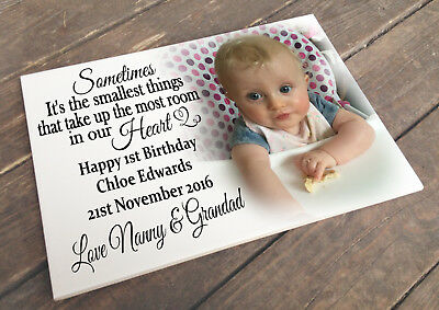 Personalised white cermaic tile plaque sign, 1st birthday memory present