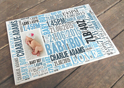 Personalised white cermaic tile plaque sign, newborn baby boy memory present