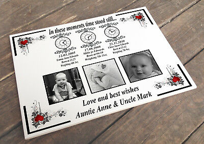 Personalised white cermaic tile plaque sign, Family children memory present