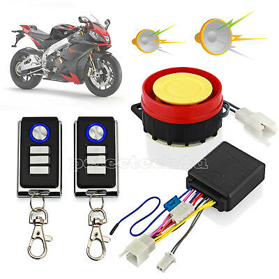Motorcycle Motorbike Alarm System Immobiliser Security Remote Control Anti-theft