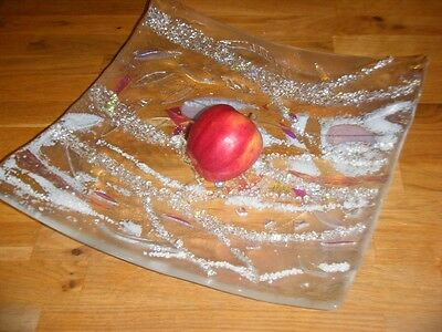 Textured Surface Art Glass Square Fruit Bowl