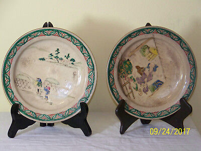 Set of 2 Antique Chinese Hand Painted Signed Porcelain Plates