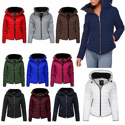New Ladies Womens Bubble Fur Hooded Quilted Padded Thick Warm Zip Puffer Jacket