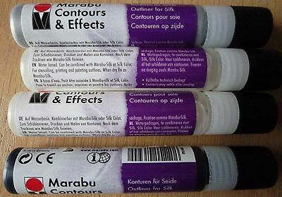 Marabu Contours & Effects Outliners for Silk x 4, set 2. 2 x Clear, Silver Black