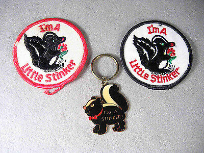 I'm a Little Stinker, Skunk, metal Keychain and embroidered Patch's