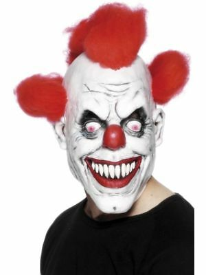 New Scary Clown Mask Adult Mens Latex Red Hair Halloween Evil Killer Fancy Dress