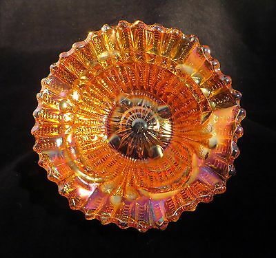CARNIVAL GLASS MARIGOLD SCROLL EMBOSSED BON BON BOWL USA 1950's