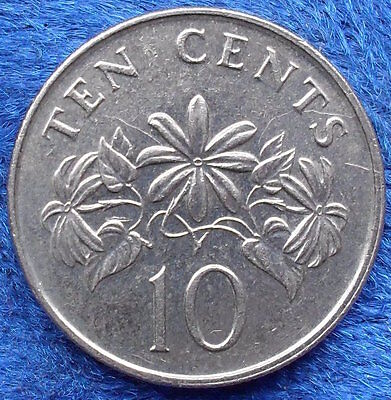 "SINGAPORE - 10 cents 1986 ""star jasmine plant"" KM# 51 - Edelweiss Coins"