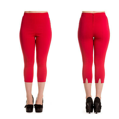 Hell Bunny Tina Red Capri Pant Trousers 1950's Hotrod Rockabilly Vintage Pin Up