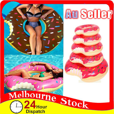Inflatable Swim Ring Giant Bite Shaped Donut Swimming Pool Water Float Raft Fun