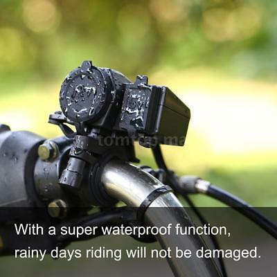 Motorcycle 2.1A Waterproof Dual Power Supply Port Charger USB For Phone GPS