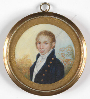 """Portrait of a young red-haired gentleman"", fine miniature, early 19th century"