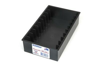 Fischer Plastic Products CASSETTE HOLDER FOR 10 CASSETTES 1A-010 IN BLACK