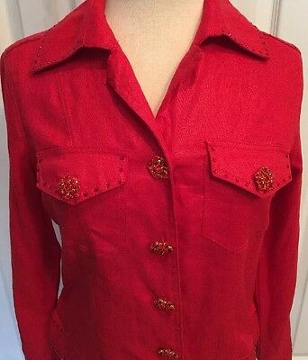 NWT $129 Berek Shimery Red Blazer Jacket Women's Small  100% Linen