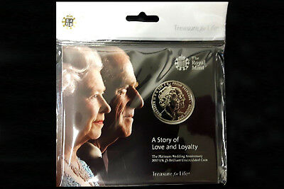 The Queen's Platinum Wedding Anniversary UK Royal Mint BU £5 Coin Pack 2017