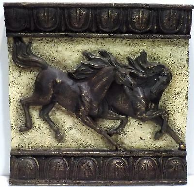 3D Galloping Horses Wall Plaque - Polyresin