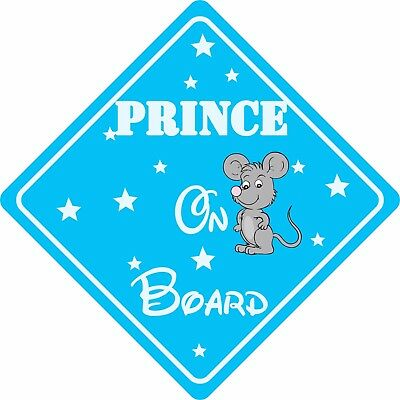 PRINCE ON BOARD MOUSE Car Sign Sticker Baby Child Children Safety Kids Boy