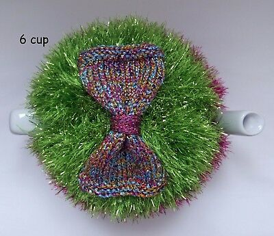 Hand-knitted-Christmas Tinsel - 6 cup Tea Cosy