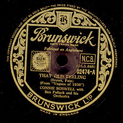 CONNIE BOSWELL & BEN POLLACK ORCH. That old feeling / Yours and mine 78rpm S9178