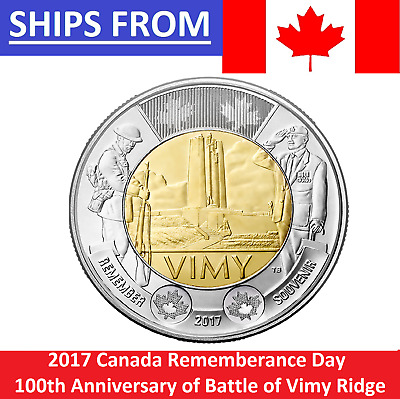 IN HAND 2017 Canada $2 100th Anniversary Battle Vimy Ridge Rememberance Day