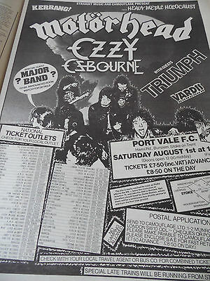 "Motorhead "" Port Vale F.c"".metal Festival Advert 1981"