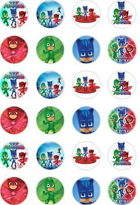 24 x  PRECUT PJ MASK WAFER/ RICE PAPER FAIRY/BUN CUP CAKE TOPPERS