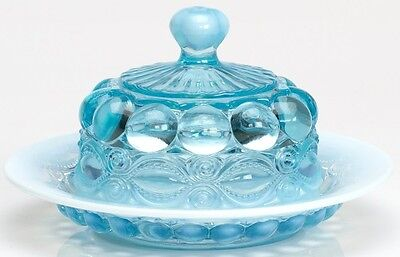 Butterdish - Eyewinker - Aqua Opalescent Glass - Mosser USA