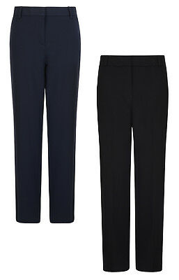Ladies Trousers M&s Straight Fit 2-Way Stretch Navy Black Formal Rrp £22 New