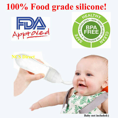 White Sqeezy Baby Silicone Feeder / Food Bottle Spoon 90mL ( 3 fl oz ) Feeding