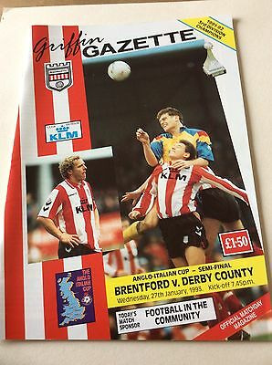 Brentford V Derby County 1993 Anglo Italian Cup Semi Final