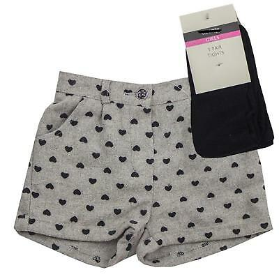 Girls Shorts & Tights Set Grey Heart Shorts Black Tights Ex Uk Store 1-6Y