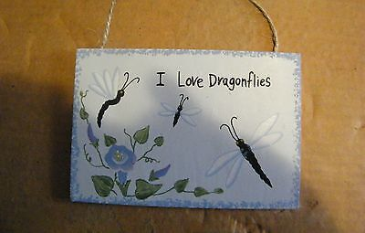 """I LOVE DRAGONFLIES 6X4"""" country primitive DRAGONFLY plaque home decor blue sign"""