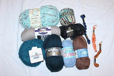 Mixed Lot of Yarn for Knitting 1.5LBS 8 New Skeins Blues Black Multi-Color Brown