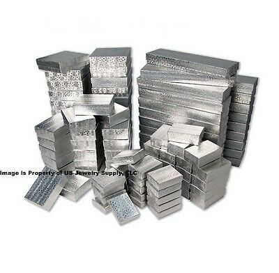 Wholesale 1000 Assorted Asst Size Mix Silver Foil Cotton Fill Jewelry Gift Boxes