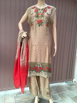 Brown Pakistani Readymade Outfit with Beautiful Embroidery Work in 3 piece su...