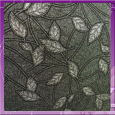 Stretch Velvet Leaf Design With Silver Glitter 58 Inches Wide Fabric Black