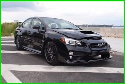 2017 Subaru WRX  2017 Subaru WRX STI Turbo AWD black Wrecked Rebuildable salvage Easy Fix