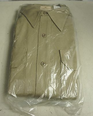 vintage MILITARY VAT DYE SANFORIZED SHIRT - 14.5/35 uniform/dyed NOS khaki 50s