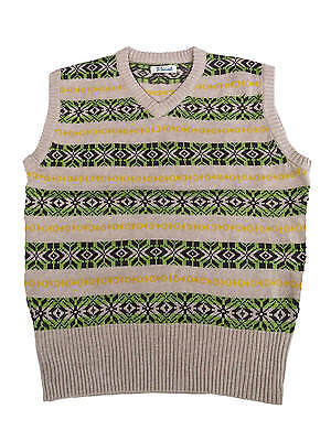 """1940s Forties Vintage Style Wartime WW2 Fairisle Tank Top Green L 46-48"""" Chest"""