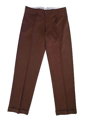 "1940s Vintage Style Brown Trousers Shaped Fishtail Waist & Turn Ups 30"" waist"