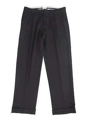 "1940s Vintage Style Black Trousers Shaped Fishtail Waist & Turn Ups 32"" waist"