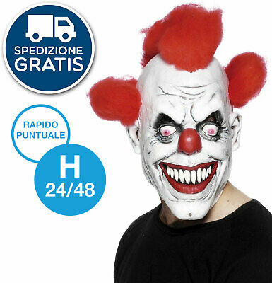 maschera CLOWN HORROR assassino PAGLIACCIO halloween costume travestimento 26385