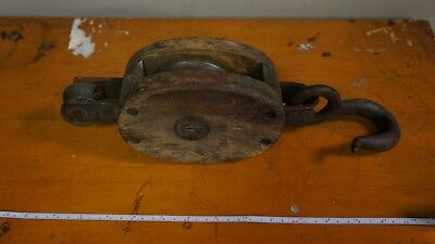 Antique Pulley Nautical Barn Wood Steel Single  Wheel Hook