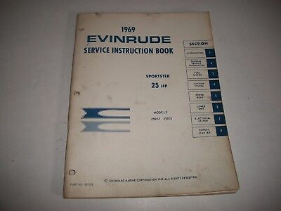 1969 Evinrude  Sportster  25 Hp Outboard Shop Service Repair Manual