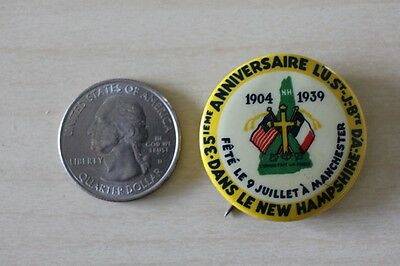 1904-39 Dans Le New Hampshire Manchester French 35th Anniversary Pinback Button