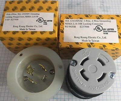 NEMA L14-30 FLANGED INLET and Locking Connector, 3 POLE, 4 WIRE, 30A, 125/250V