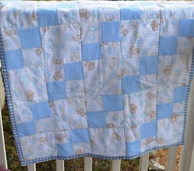 Boys teddy bear crib quilt