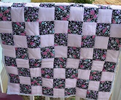 pink and floral crib quilt for a girl